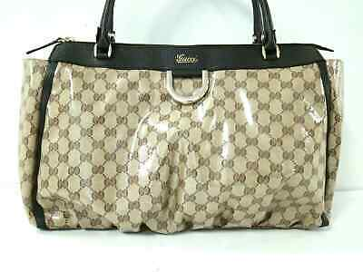 bb762d18a0b8 Auth GUCCI Crystal GG 341491 Beige DarkBrown Coated Canvas Leather Handbag
