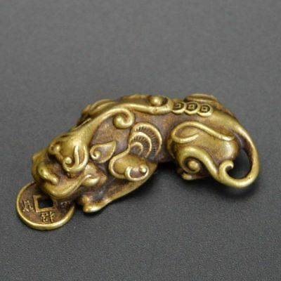 Chinese Old Collectibles Pure brass God beast pixiu small pendant NO 19
