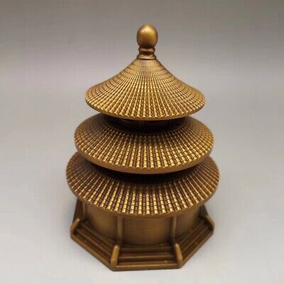 Chinese Old copper Fortune lucky pagoda incense burner Statues YR