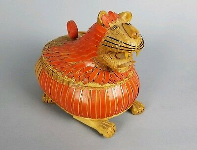 Rare Estate Vintage Chinese Export Zhejiang Hand made Lion Wicker Lidded Basket