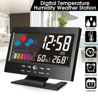 Projection Digital Alarm Clock Snooze Weather Thermometer LCD Color Display LED-