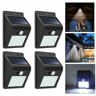Solar Powered PIR Motion Sensor Light Outdoor Garden Security Wall Lights 20 LED
