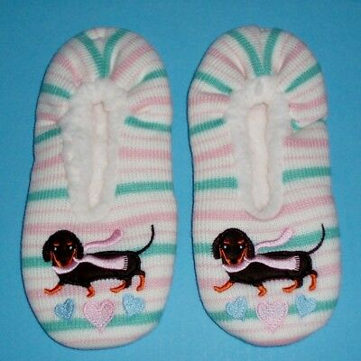 Knit Dachshund Dog Fleece Lined Slippers