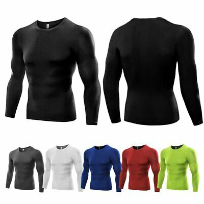 Men Long Sleeve Under Base Layer Compression Sport Running Quick Dry T-Shirt AU