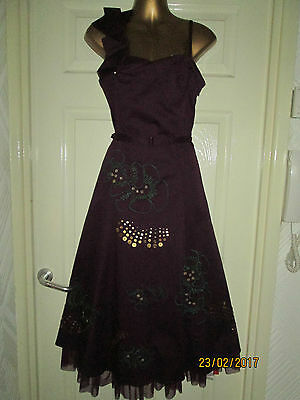 TEATRO Plum Embroidered Sequinned Dress  UK Size 12