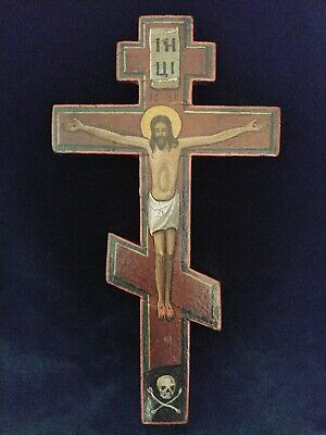 ANTIQUE 19c WOODEN RUSSIAN OLD BELIEVERS ICON CROSS CRUCIFIX