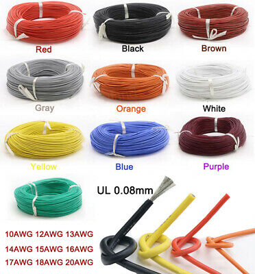 UL 0.08mm Flexible Silicone Cable Wire 10AWG - 20AWG Resistant High Temperature