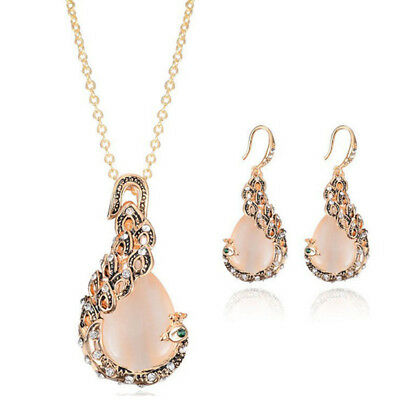 Opal Crystal Peacock Necklace Earring Wedding Jewelry Set Romantic Gift Jewelry&