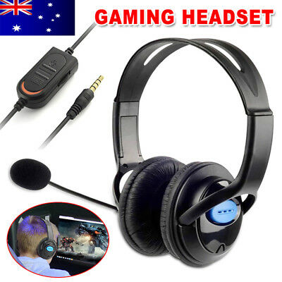 AU Gaming Headset Headphone with Microphone Wired for Sony PS4 Play Station 4 ec