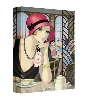 Art Deco Vintage Old Style Lady In Pink Hat Photo canvas wall art Picture Print