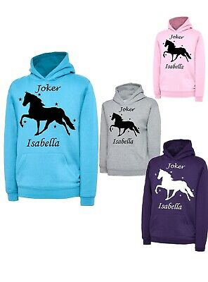 Children's Personalised Horse Designer Horse Riding Hoody Hoodies Girls Kids