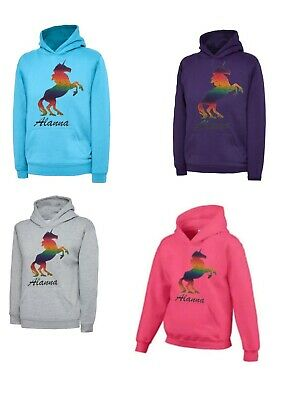 Girls Personalised Sparkle Printed Unicorn Hoodie lots of colours Age 3-13 NEW