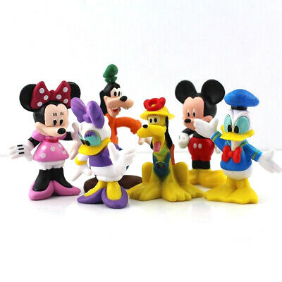 6 Pcs Disney PVC Figure Cake Topper Mickey Minnie Mouse Donald Duck Daisy Goofy