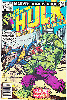 HULK, THE INCREDIBLE 212 - 1st APP CONSTRICTOR (BRONZE AGE 1977) - 8.0