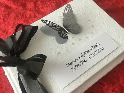 Personalised Funeral Memorial Condolence Book Boxed In Loving Memory - 20 colour