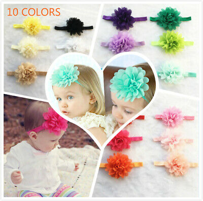 Newborn Baby Girls 5/10pcs Elastic Flower Headband Soft Bow Headdress Hair Band
