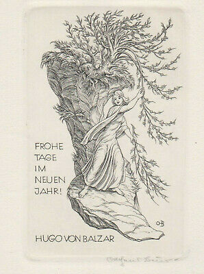 Ottohans Beier 1892-1979 PF Tree Woman signed Copper Engraving C2 not Exlibris