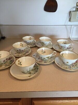 K & A  Krautheim Selb Bavaria Meadow Flowers Cups & Saucers Set Of 8