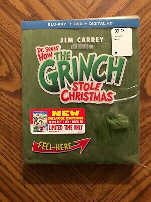 How the Grinch Stole Christmas NEW Blu-ray/DVD,  Fur Case (Plastic Cover Dmg)#M2