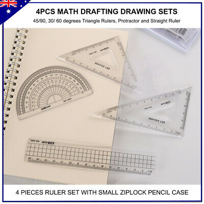 4 Pcs Ruler Set  protractor triangle rulers pencil case drawing maths drafting