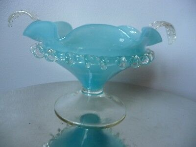 Victorian Sky Blue Fluted Opaque Milk Glass Pedestal Footed Bowl Clear Frill
