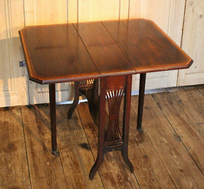 Antique Edwardian Inlaid Drop Leaf Side Or Hall Table In Mahogany With Castors