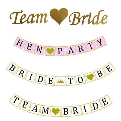 Team Bride To Be Hen Party Night Do Vintage Banner Sashes Bunting Decorations