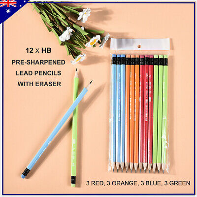 12 x HB Pre-sharpened Lead Pencils with Eraser Writing Sketching Drawing School