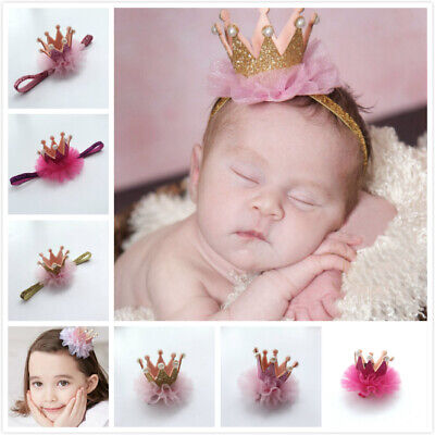 Handmade Newborn Baby Girls Pearl Crown Headband Soft Headband/Hair Clip Slides
