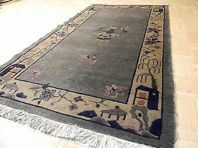 3x6 CHINESE RUG VINTAGE PEKING NICHOLS AUTHENTIC HAND-MADE ORIENTAL RUG 1960s