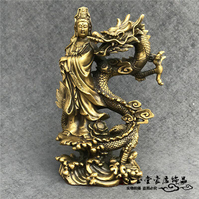 Chinese Fengshui Old Brass Avalokitesvara Guan Yin Stand in Dragon Lucky Statue