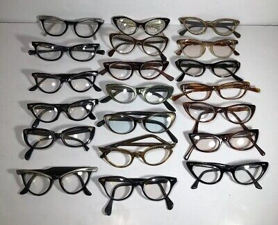 Lot of 20 Vintage  Cat Eye Horn Rimmed Eyeglasses