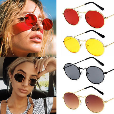 Women Small Round Oval Shade Sunglasses Metal Frame Vintage Fashion Summer Shade