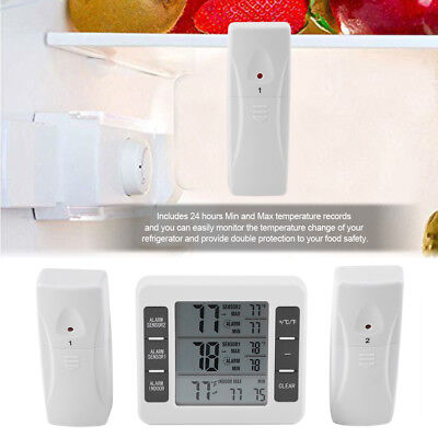 Digital Refrigerator Freezer Thermometer w/ Alarm High & Low Temperature Setting