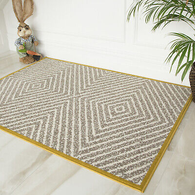Grey & Ochre Yellow Geometric Living Room Rugs Non Shed Maze Bordered Area Rug