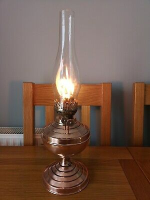 Vintage English copper Duplex oil lamp with glass chimney