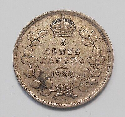1920 Five Cents SILVER F+ Nicely TONED Better Date King George V OLD Canada 5¢