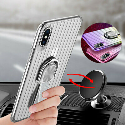 Car Magnetic Holder Stand Clear Soft TPU Case Cover For iPhone XS X 8 Plus/7/6s
