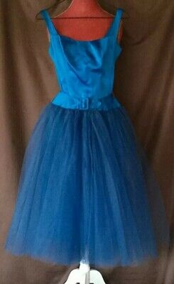 5e4bbf938ef0 Vintage Hand-Made 1950's Blue Satin Dress W/Removable Tulle Wrap Skirt Xs-