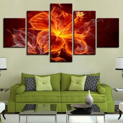 Framed Decor Abstract Flower Red Flame Ochid Canvas Print Painting Wall Art 5PCS