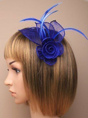 Royal Blue Hair Fascinator in neat hessian and feather with clip and brooch pin