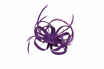 Ladies Sinamay Loops & Feathers Purple Fascinator / Corsage on Clip & Brooch Pin