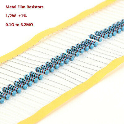 1/2W ±1% Metal Film Resistors 0.5W - 0.1Ω to 6.2MΩ 133 Values -Various Pack Size