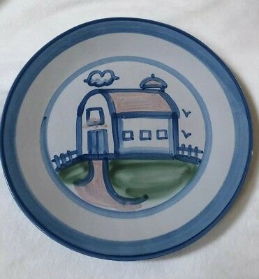 """M.A. HADLEY Pottery Country Scene Blue Barn 11"""" Dinner Plate Signed Vintage"""