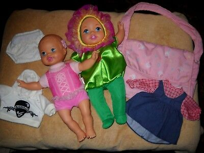 "Two ""Little Mommy"" Baby 13-14"" Dolls, Clothing & Diaper Bag, Mattel, Accessories"