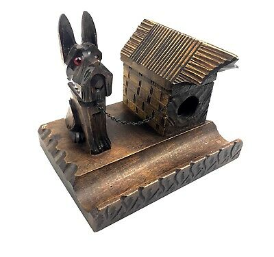 Antique Black Forest Wooden Inkwell / Desk Stand / Dog Glass Eyes And House