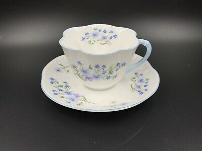 Shelley Blue Rock Tea Cup and Saucer Set Bone China England
