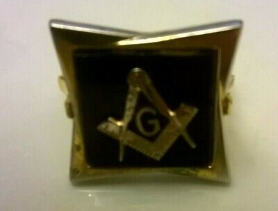 Antique Victorian Square 925 Silver Gilt Black Onyx and Gold Masonic Ring Size 0