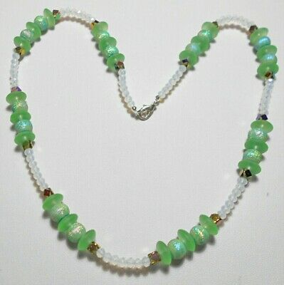 """20.75"""" beaded necklace, green, opalite mixed glass beads"""