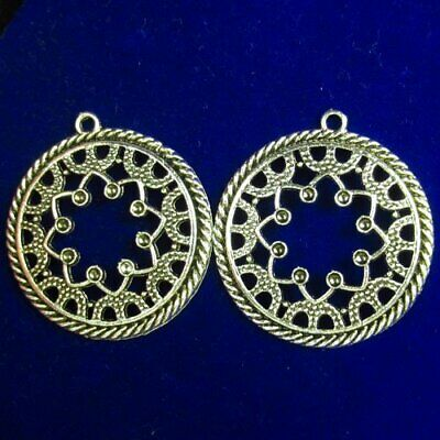 2Pcs Carved Tibetan silver Hollowing out Flower Round Pendant Bead 33x2mm L60887